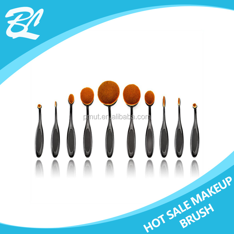 BL-LQ284 high quality synthetic hair oval toothbrush makeup brush set