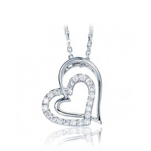 Hollow double heart 18k white gold anchor pendant for girls