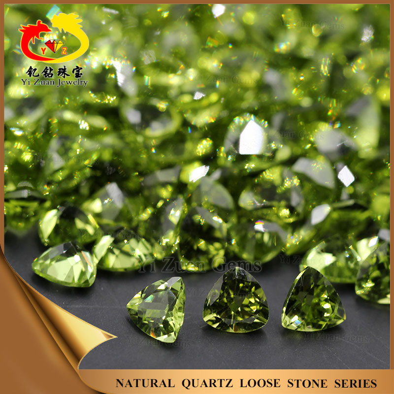 Olivine Fat Triangle Trillion shaped Faceted Natural stone Peridot for jewelry findings