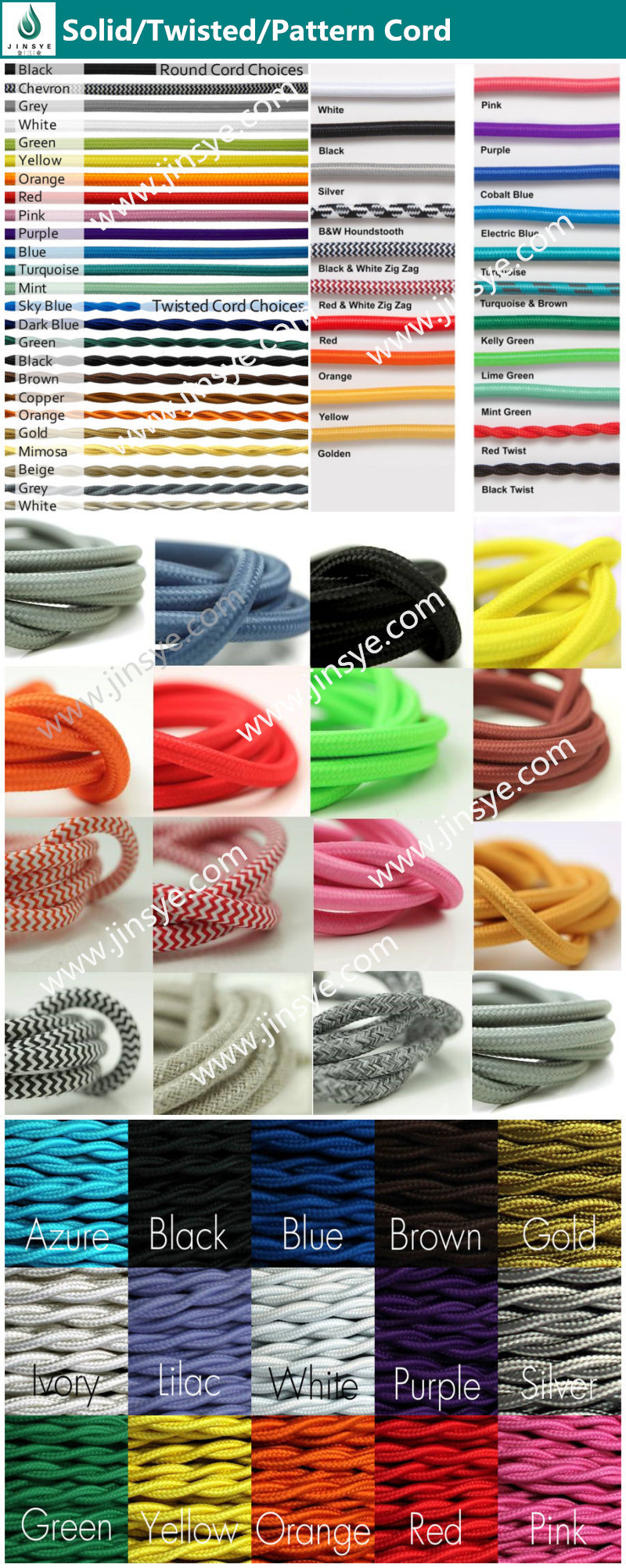 DIY 5M 2*0.75mm H03VV-F Braided cable fabric wire wholesale cotton cord