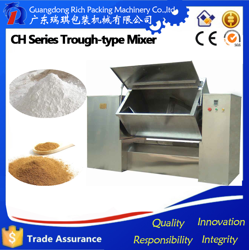 Horizontal automatic paint/spice ribbon mixer
