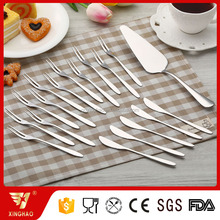 China Direct Factory High Quality Mirror Polish Stainless Steel Fruit Fork Mooncake Knife Cake Server
