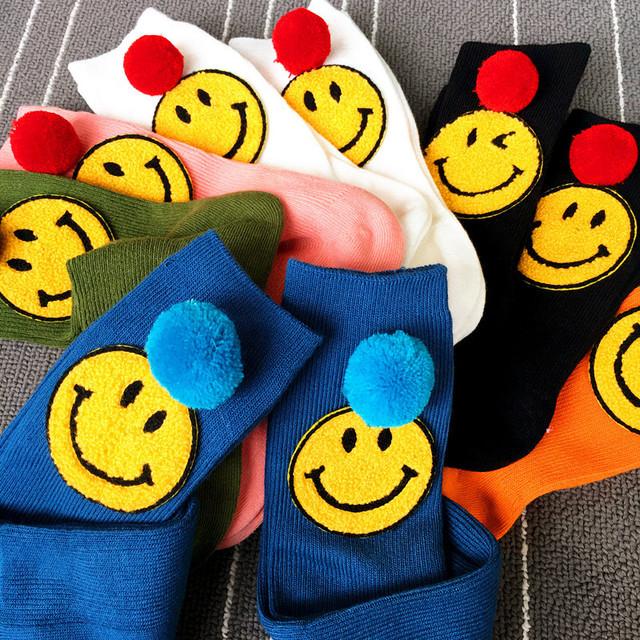 Korea Harajuku cartoon smiling face socks emoji tube socks
