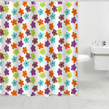 Beautiful flower bath shower windows curtain home luxury shower liner modern eyelet curtains with plastic hangers