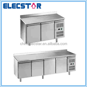 GN stainless steel solid door refrigeration counter, restaurant kitchen equipment, ventilated cooling, Embraco compressor