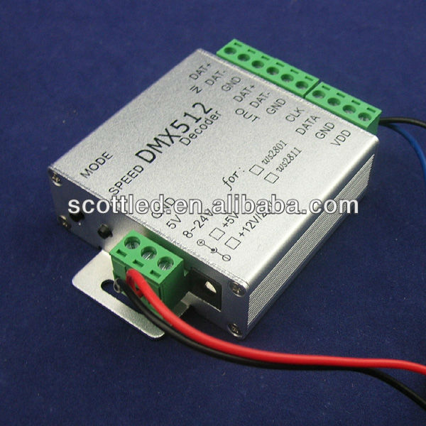 dmx 512 rgb led controller / DMX512 decoder 5-24v optional for ws2801 flexible pixel led light
