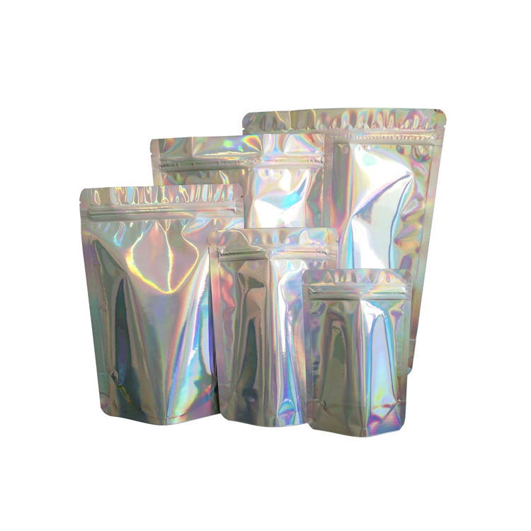 Foil Metallic stand up zipper bag hologram shiny cosmetic bag in stock