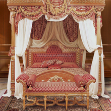 High Quality Luxurious Baroque Solid Wood Carving Poster Canopy Queen Size Bed with Buttoned Headboard BF12-06294a