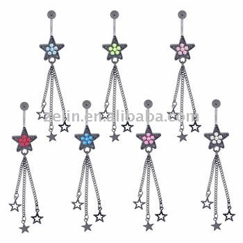fancy banana metalic shooting star navel rings body jewelry piercing