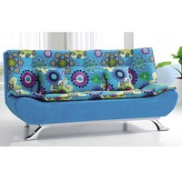 Mediterranean Style Futon Sofa Bed Blue Floral Fabric Upholstered Home Living Room Dorm Furniture Lightweight Sofa Bed