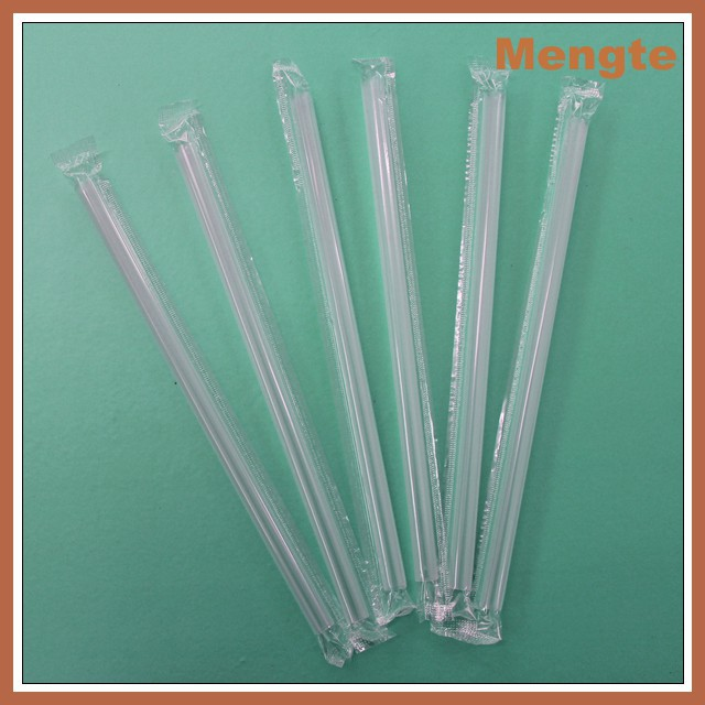 Yiwu individually packed long transparent plastic straw for drink