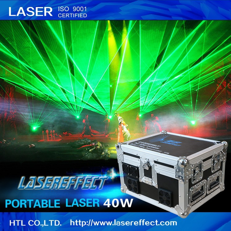40w green portable laser light for large-scale traveling laser show and professional performance theater