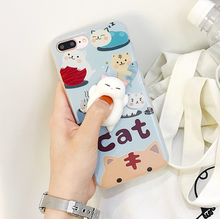 Unique Lovely Cartoon Cat Squishy 3D Silicone Mochi Phone Cases For iPhone 7 7 Plus