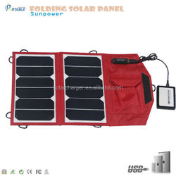 Hot selling folding 13W sunpower solar panel solar mobile charger