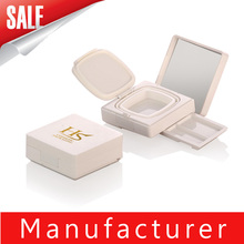 2015 newest pearl white square empty bb cushion powder case with mirror