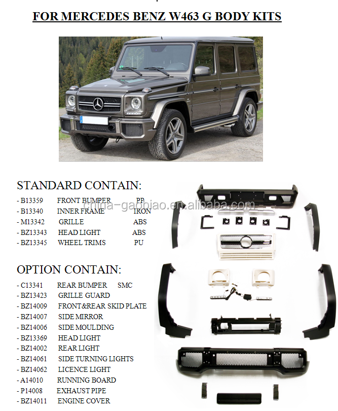 For mercedes benz w463 g class body kit auto parts for for Mercedes benz g class parts