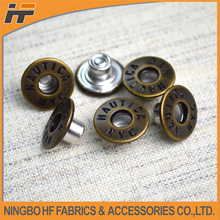 Anti-brass round metal jeans button