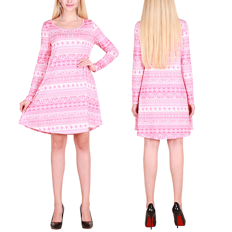 Oem Christmas Vacation Printed Long Sleeve Women Sexy Winter Dresses Women