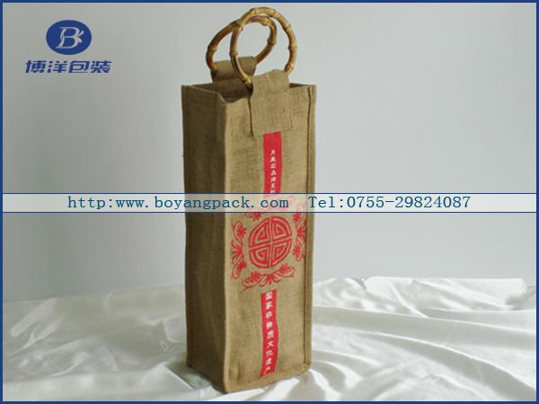 handle burlap wine bottle bags with logo design