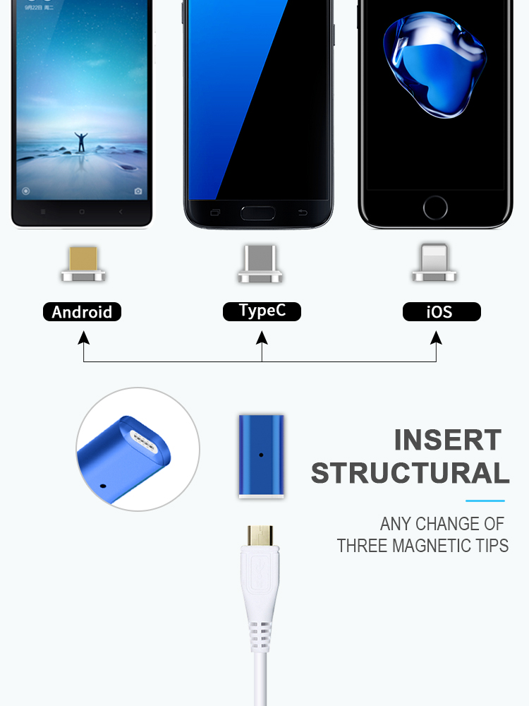 OEM supplier of Micro USB connector  magnetic charger adapter Type C to android and ios magnetic cable adapter