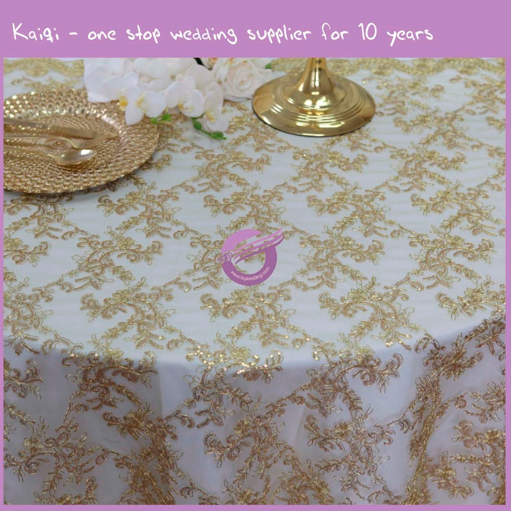 TX00072 Fancy wedding embroidery gold sequin tablecloth table cloth