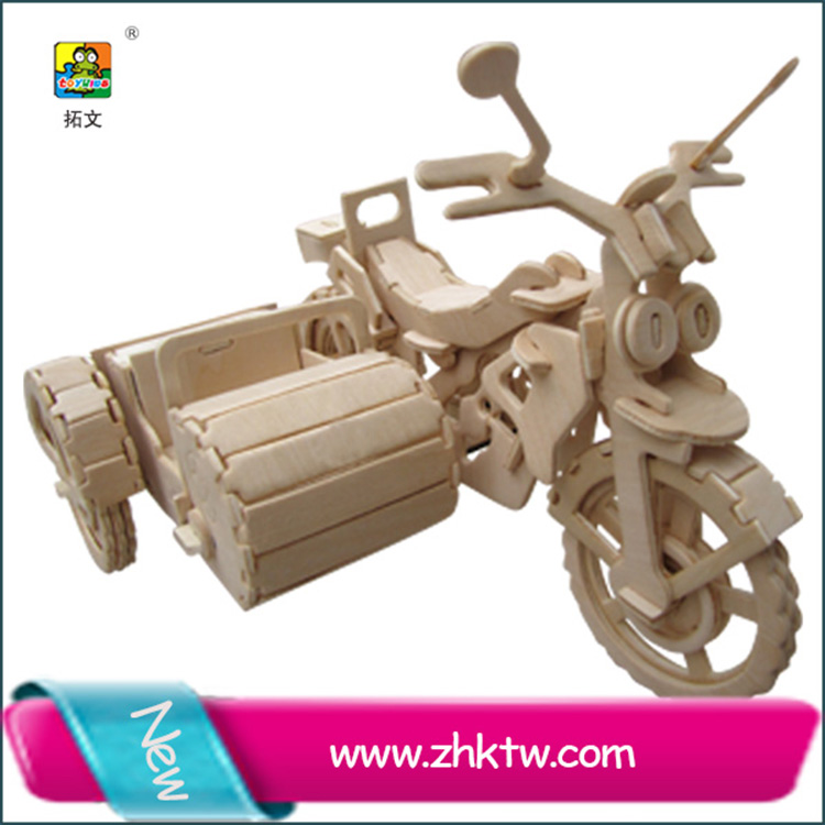 Hot sale wooden puzzle toy children three wheel motocycle 3D wood toy