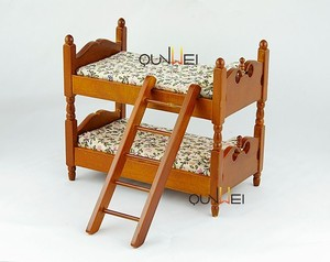 Children Gift - Deluxe Natural Wood Wooden Doll House Furniture - Kids Bedroom Bunk Bed QW80024