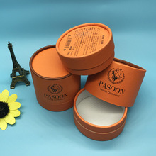 Orange round paper gift boxes, luxury cylindrical packaging mini box