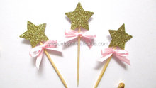 Glitter Stars with Bow Cupcake Toppers Birthday Party Baby Shower Cake Topper