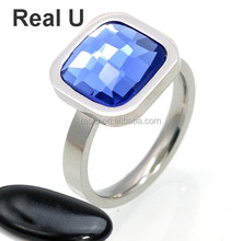 Stackable Blue Sapphire Square Stone Ring