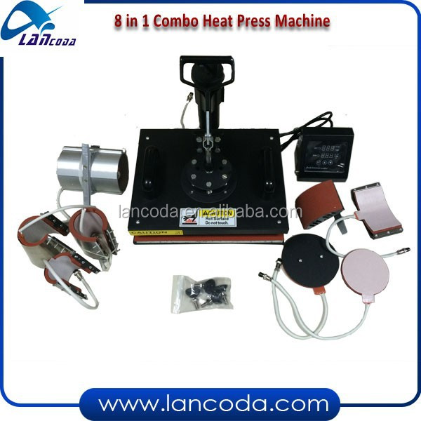 Lancoda 8 in 1 combo Heat Press Machine,CE approved,changeable heaters