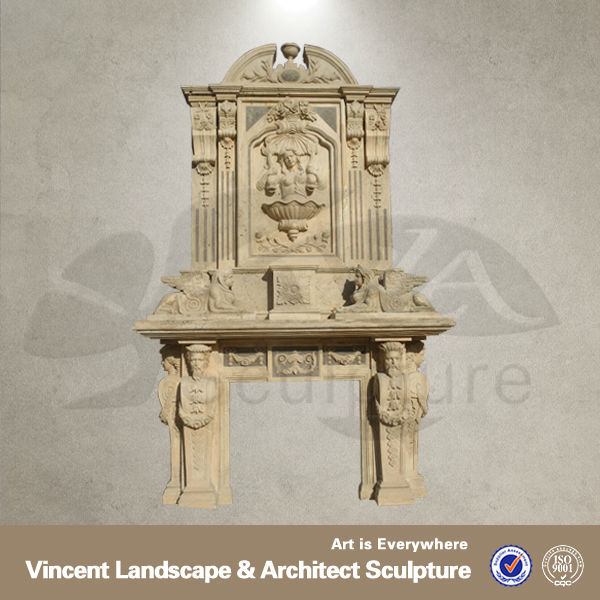 Yellow travertine luxury fireplace VFM-NF002A