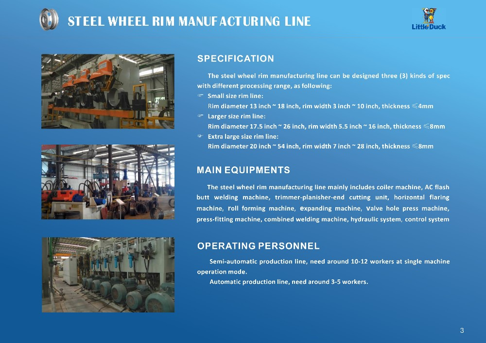 Steel Wheel Rim Production Line for car rim at diameter 13inch-18inch