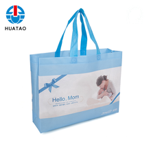 Fugang Hot Sale Shopping Bags With Logos Custom Blue Color Non Woven Bag Lamination