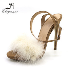 Sexy Beautiful Fluffy Furry Ostrich Fur Suede Peep Toe 12cm Stiletto High Heels Sandals Shoes For Women And Ladies 2018 Summer