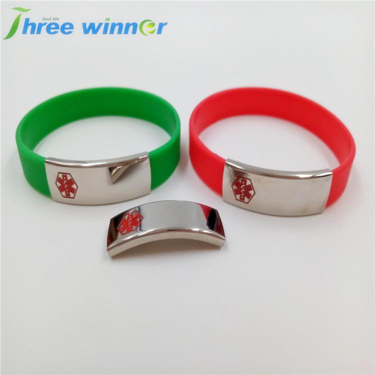 Promotional Silicone Charm Bracelet Men With Medical Logo