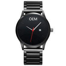 Brand Your Own Watch Men Business Style OEM Men Hand Watch Calendar Custom Logo Engraving Stainless Steel Watch
