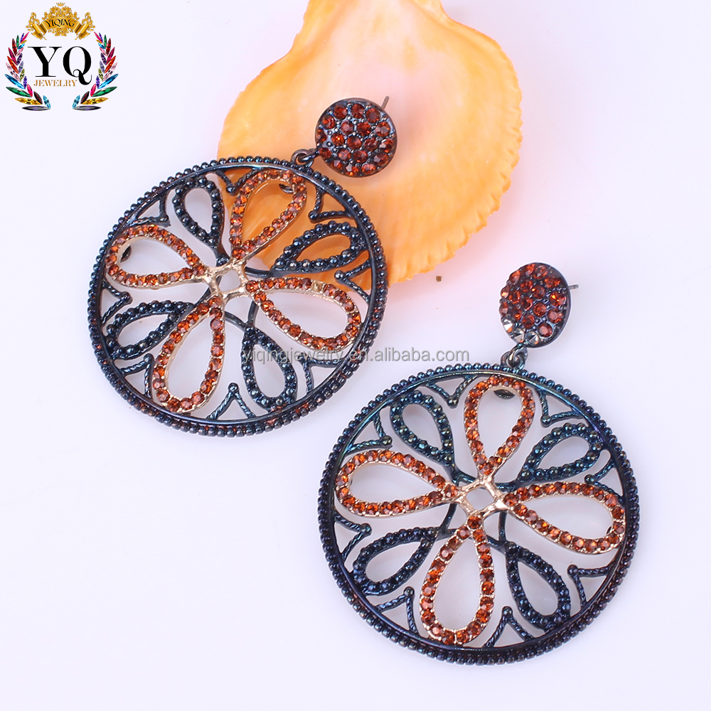 EYQ-00410 indian big round flat earring hollow flower stud drop earrings with full of rhinestone colorful
