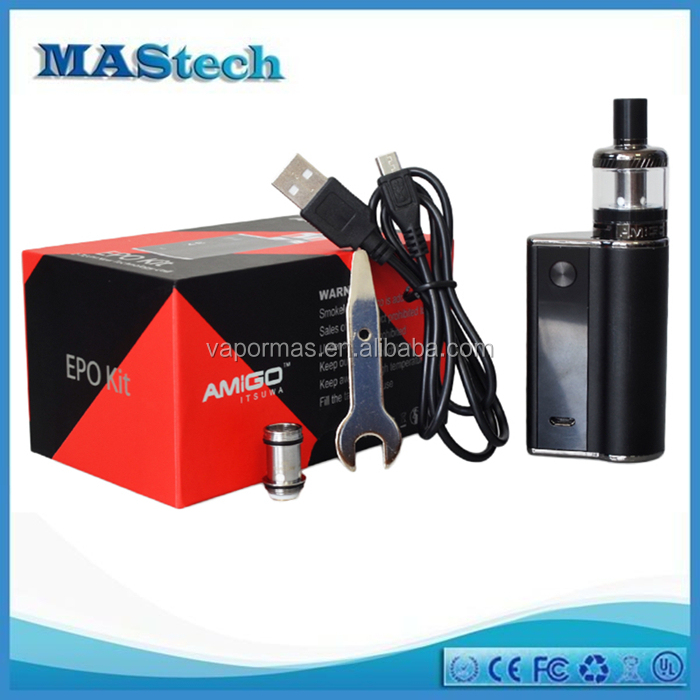 e cigarette china factory 100% Authentic Itsuwa Amigo e-cigarette Mod Box 1500mah 50W Box Mod with East Pearl Ecig Tank