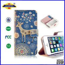 Hot Selling Beautiful Patterns Wallet Leather Stand Case for Apple iPhone 4 4s 5 5s Flip Cover Accessories Made in China Laudtec