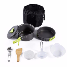 8PCS cooking tool picnic BBQ pot pan plate cup stainless steel tableware cutlery portable outdoor camping cookware set