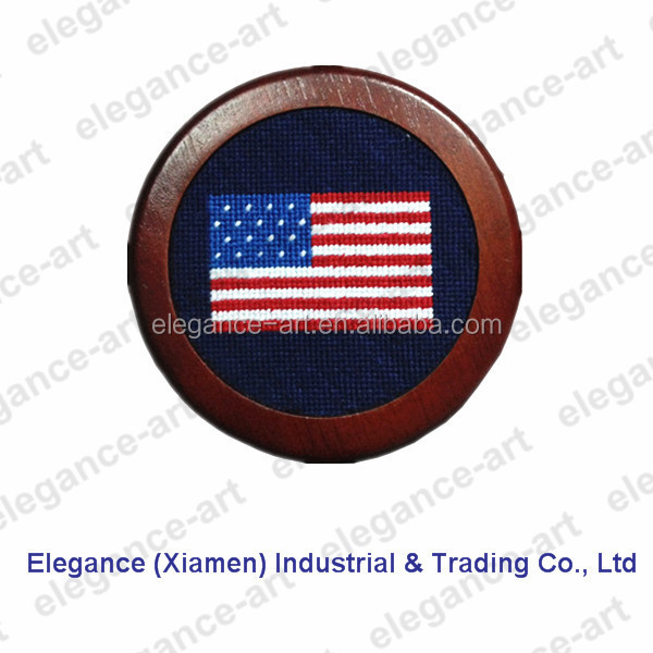 One set is holder for American flag needlepoint coasters