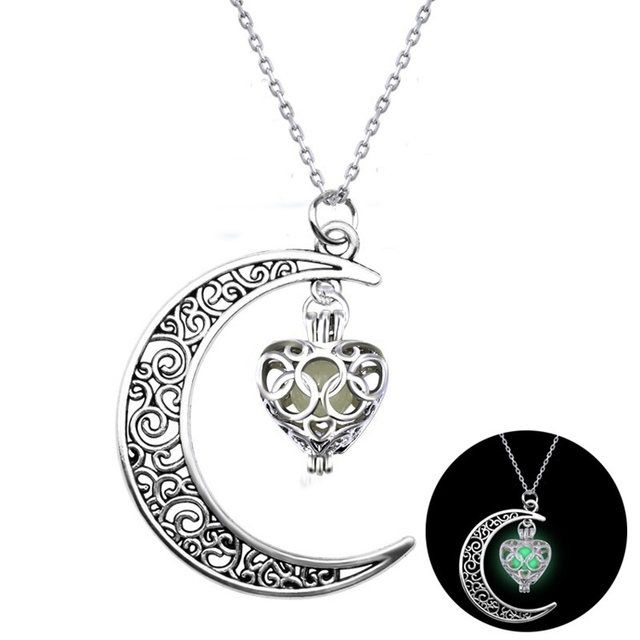 HB-25 Necklaces Moon Modern Moon Necklace Glow In The Dark Glowing Heart Necklace