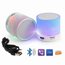 2017 Round Outdoor Wireless Music Mini Portable Cheap LED Bluetooth Speaker With FM Radio