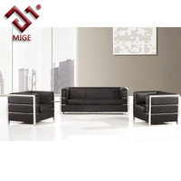 Black leather single seat boss sofa