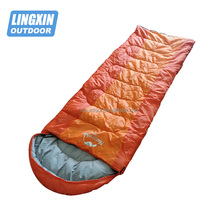 Hiking compact heated down mummy sleeping bag for cold weather