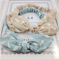 Solid color wire wide turban knot rabbit ear headband baby girl headband
