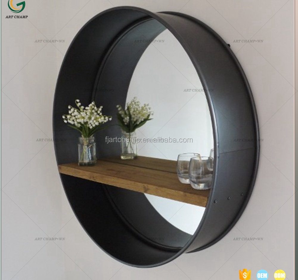 Large Industrial Black With Shelf Hanging Metal Mirror