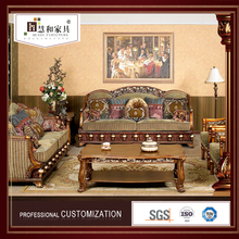 Customized China Manufacturer Living Room Wood Furniture Royal Classic Sofa Set