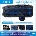 hot selling illuminated gaming keyboard and mouse combo